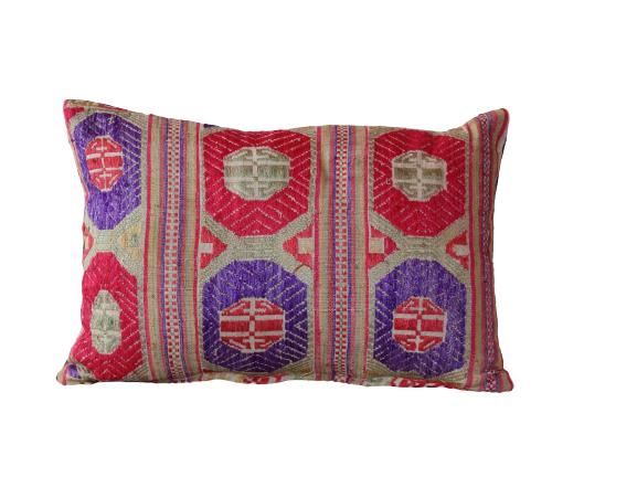 Vietnamese Purple & Red Circles Embroidered Cushion