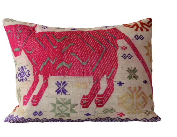Vietnamese Pink Tiger Embroidered Cushion