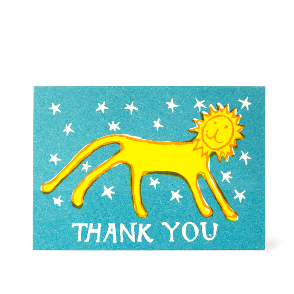 Thank You Little Lion, Small Greetings Card