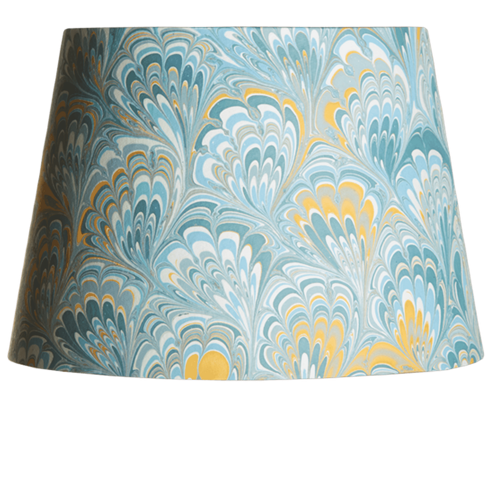 Marble Paper Lampshade in Blue & Yellow