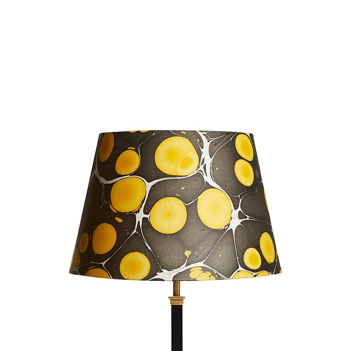 Marbled Paper Lampshade in Acid Yellow & Black