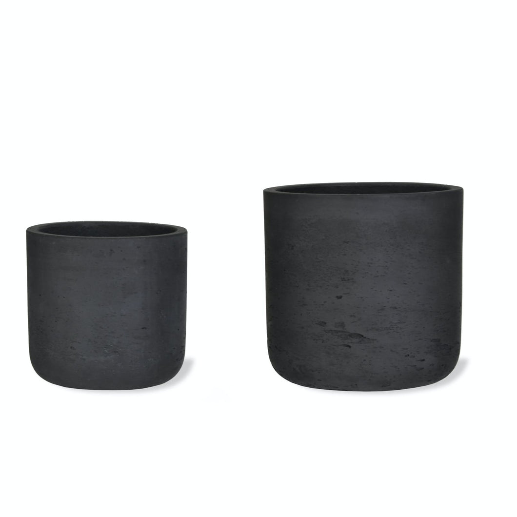 Cement Straight Plant Pot - Carbon