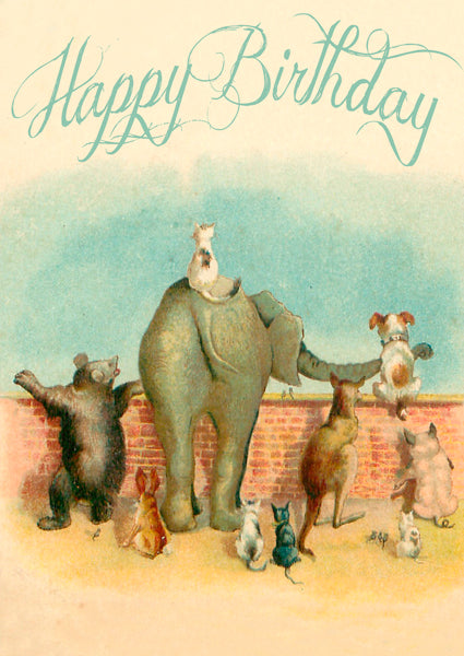 Looking over the Wall Birthday Card