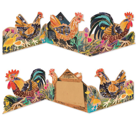 Fold Chickens Greeting Card
