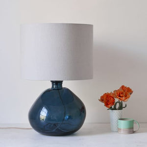 Large Petrol Blue Recycled Glass Lamp