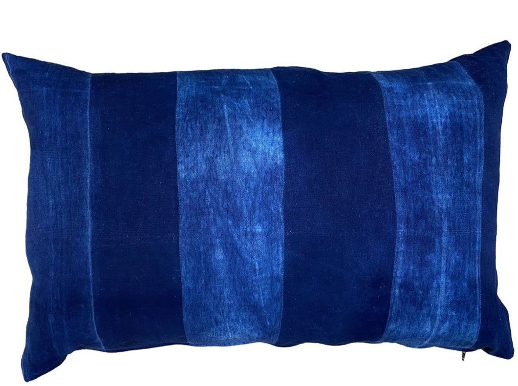 Indigo Cushion  with Broad Stripe