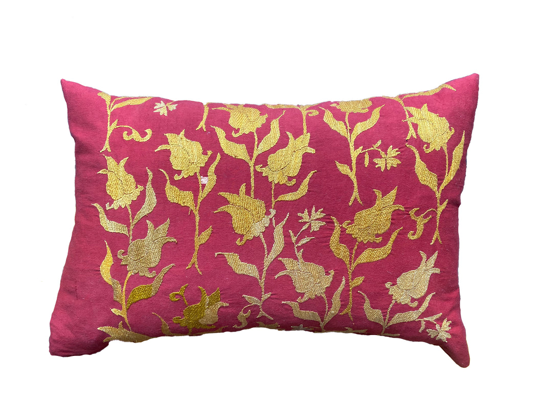 Cushion Turkish Embroidery Yellow Floral