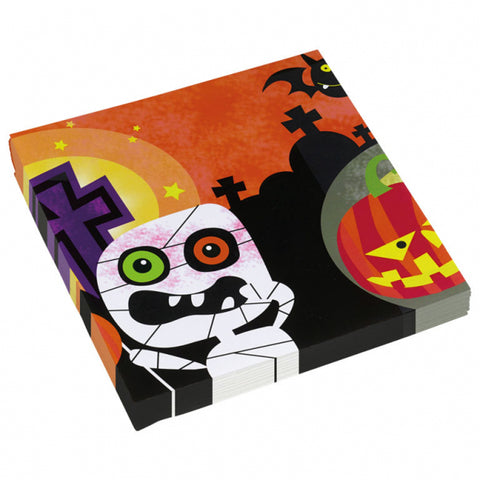 Halloween Kids Friendly Mummy, Napkins 20pk 33cm - Party Avenue Ltd