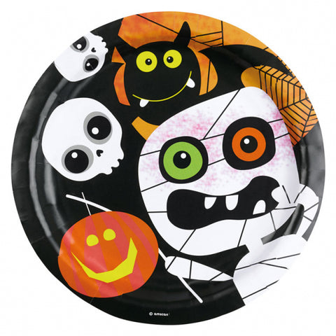 Halloween Kids Friendly Mummy, Plates 23cm 8pk - Party Avenue Ltd