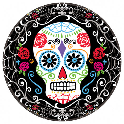 "Day of the Dead, Plates 23cm 18pk (9"") - Party Avenue Ltd"