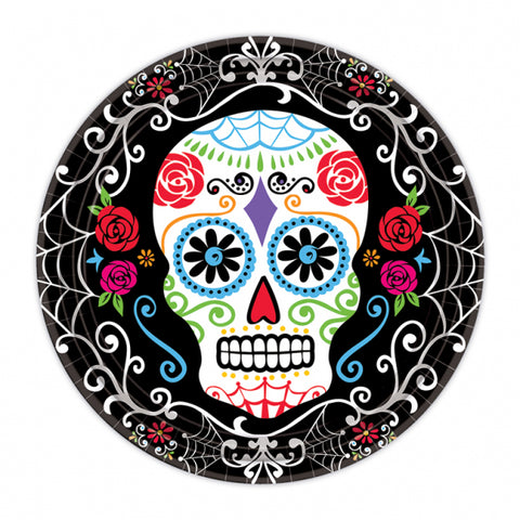 "Day of the Dead, Plates 17cm 18pk (7"") - Party Avenue Ltd"