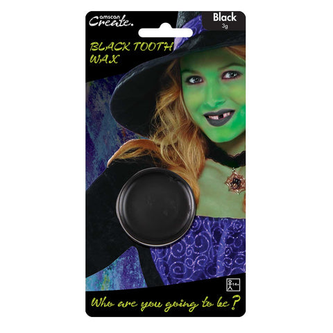 3g Black Tooth Wax, Halloween Facepaints - Party Avenue Ltd