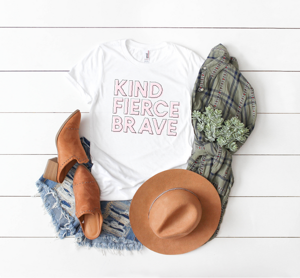 Kind Fierce Brave Short-Sleeve Unisex T-Shirt