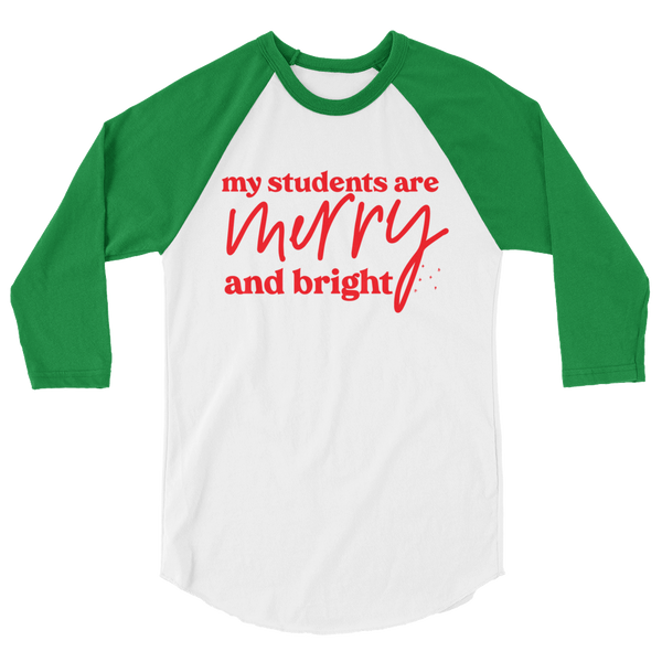 Merry and Bright Baseball Tee - Green