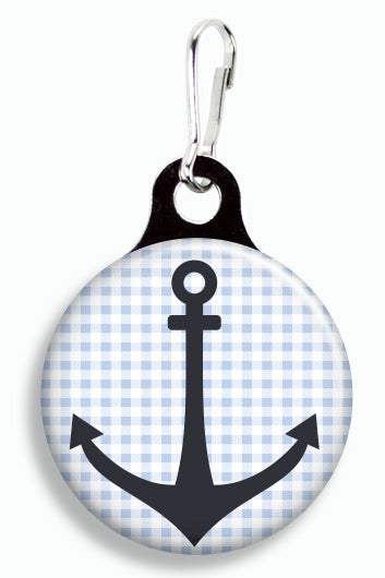 Gingham Anchor - Fetch Life Pet Outfitters Dog & Cat Collar Clips