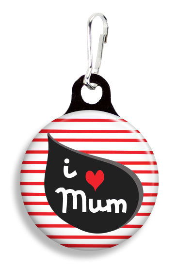 I love Mum Stripes - Fetch Life Pet Outfitters Dog & Cat Collar Clips