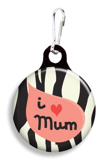 I Love Mum Zebra - Fetch Life Pet Outfitters Dog & Cat Collar Clips