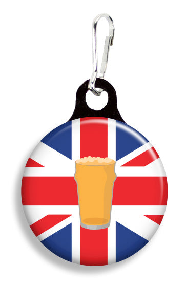 Pint on Union Jack Flag - Fetch Life Pet Outfitters Dog & Cat Collar Clips