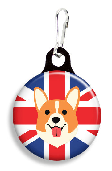 Corgi on Union Jack Flag - Fetch Life Pet Outfitters Dog & Cat Collar Clips