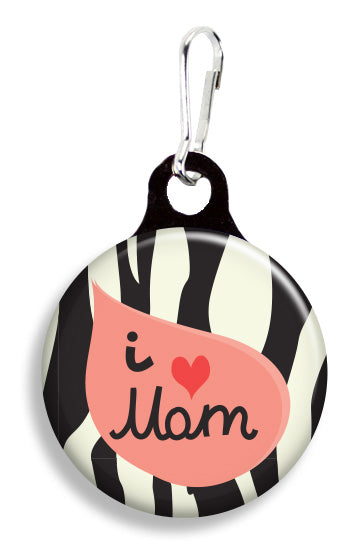 I Love Mom Zebra Stripes - Fetch Life Pet Outfitters Dog & Cat Collar Clips