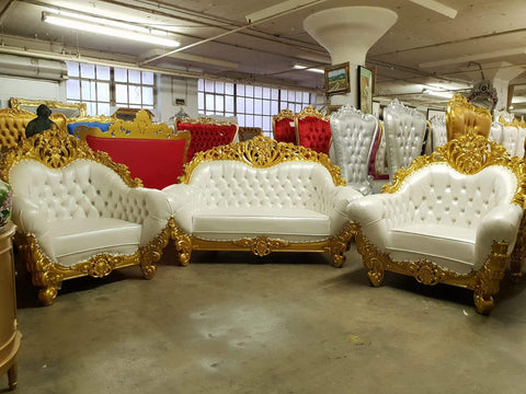The Messina luxurious living room sofa set in white/gold heavy baroque carved frame!