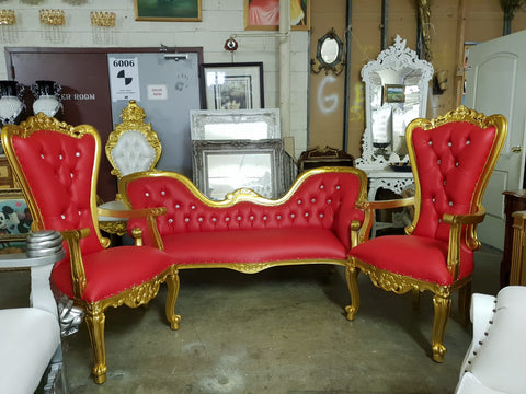 Monaco love seat chaise lounge and two matching throne chairs red/gold