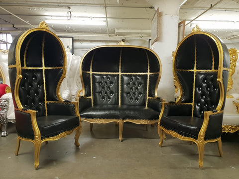 Hooded canopy throne chair set black/gold 3 pieces selling at $2795 currently