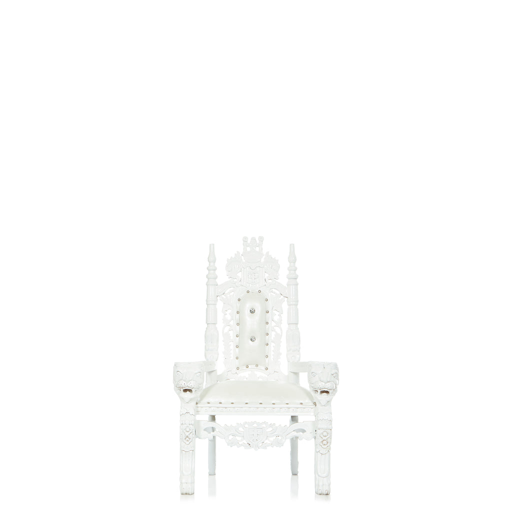 """Mini King David"" Lion Throne Chair - White / White"