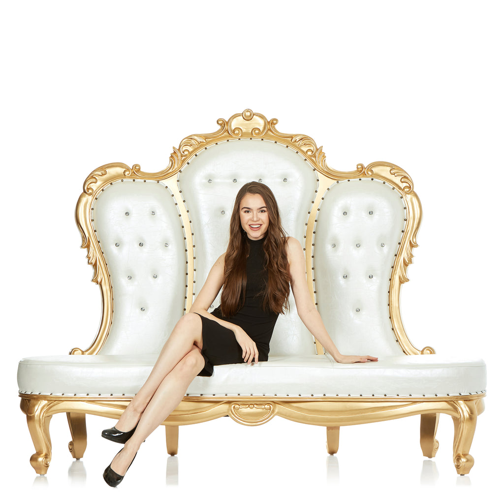 """Beatrice"" Party Love Seat - White / Gold"