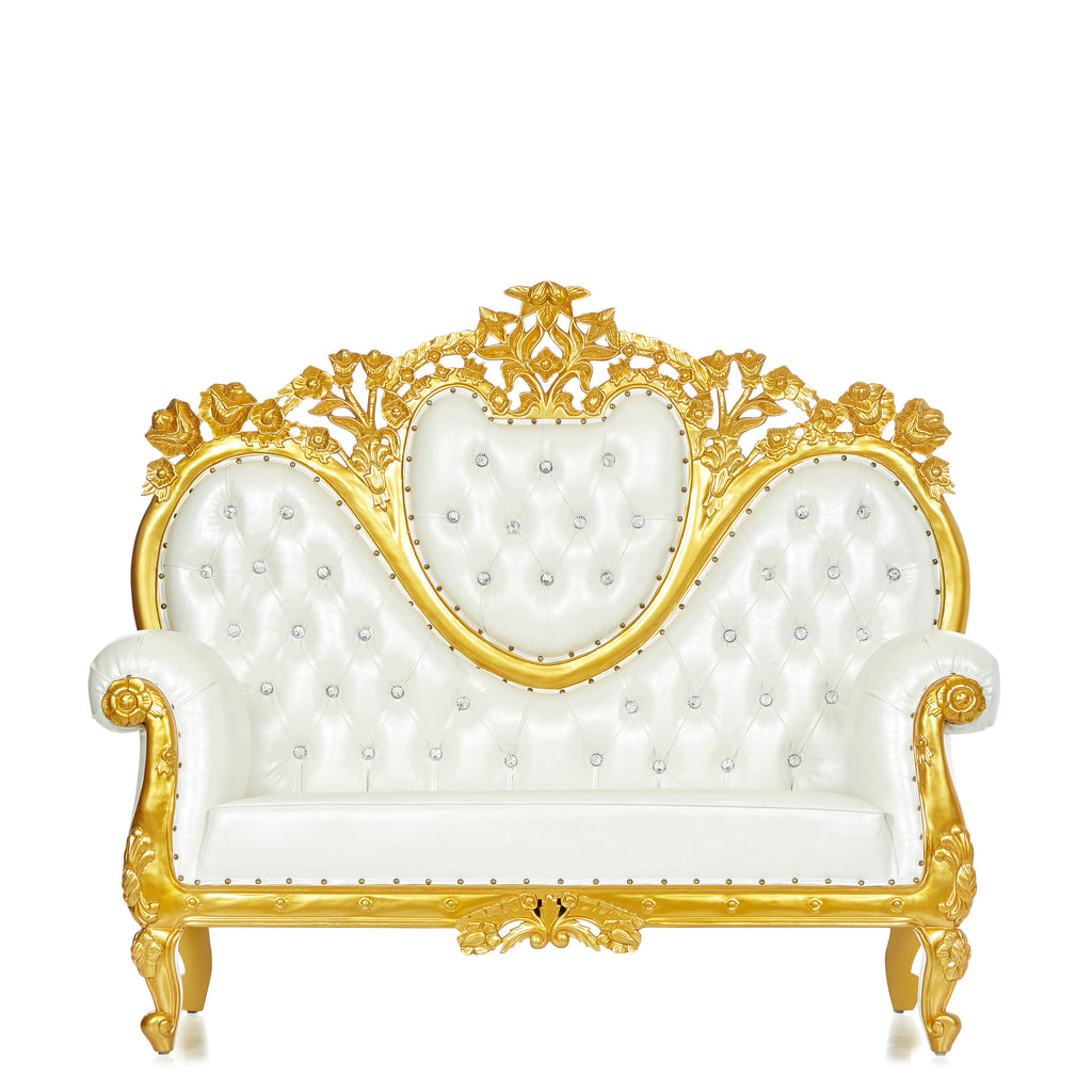 """Capri"" Royal Love Seat  - White / Gold"