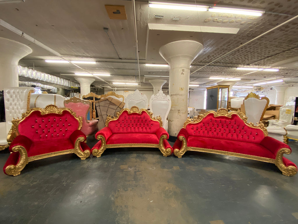 """Custom Order"" ""Royal Regal"" 3Pc. Living Room Sofa Set - Red / Gold"