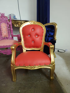 """Angelic"" Mini Children's Throne Chair - Red / Gold"
