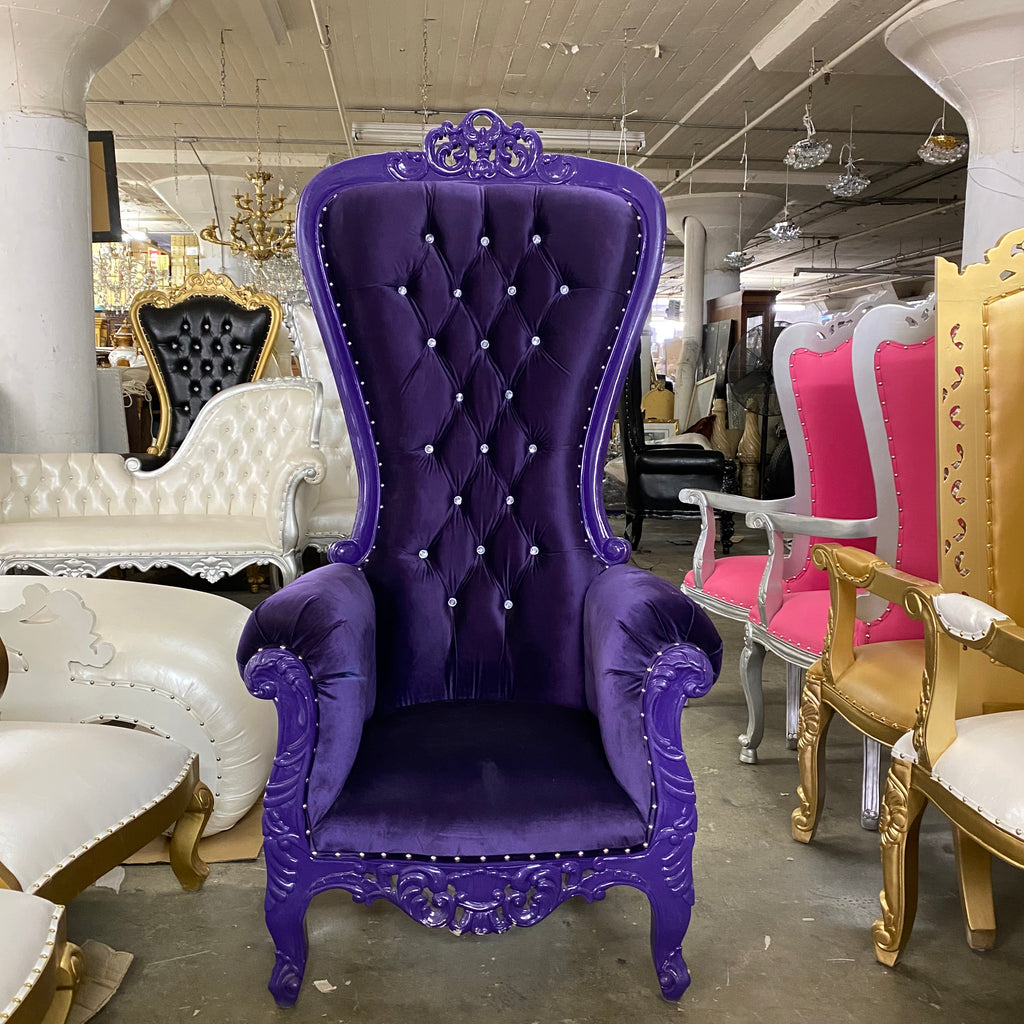 """Diana"" Queen Throne Chair - Purple / Purple"