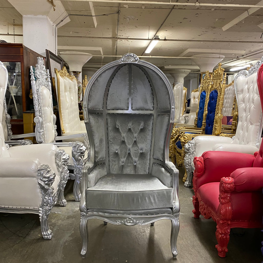 """Hooded Canopy"" Bridal Throne Chair - Silver Velvet / Silver"