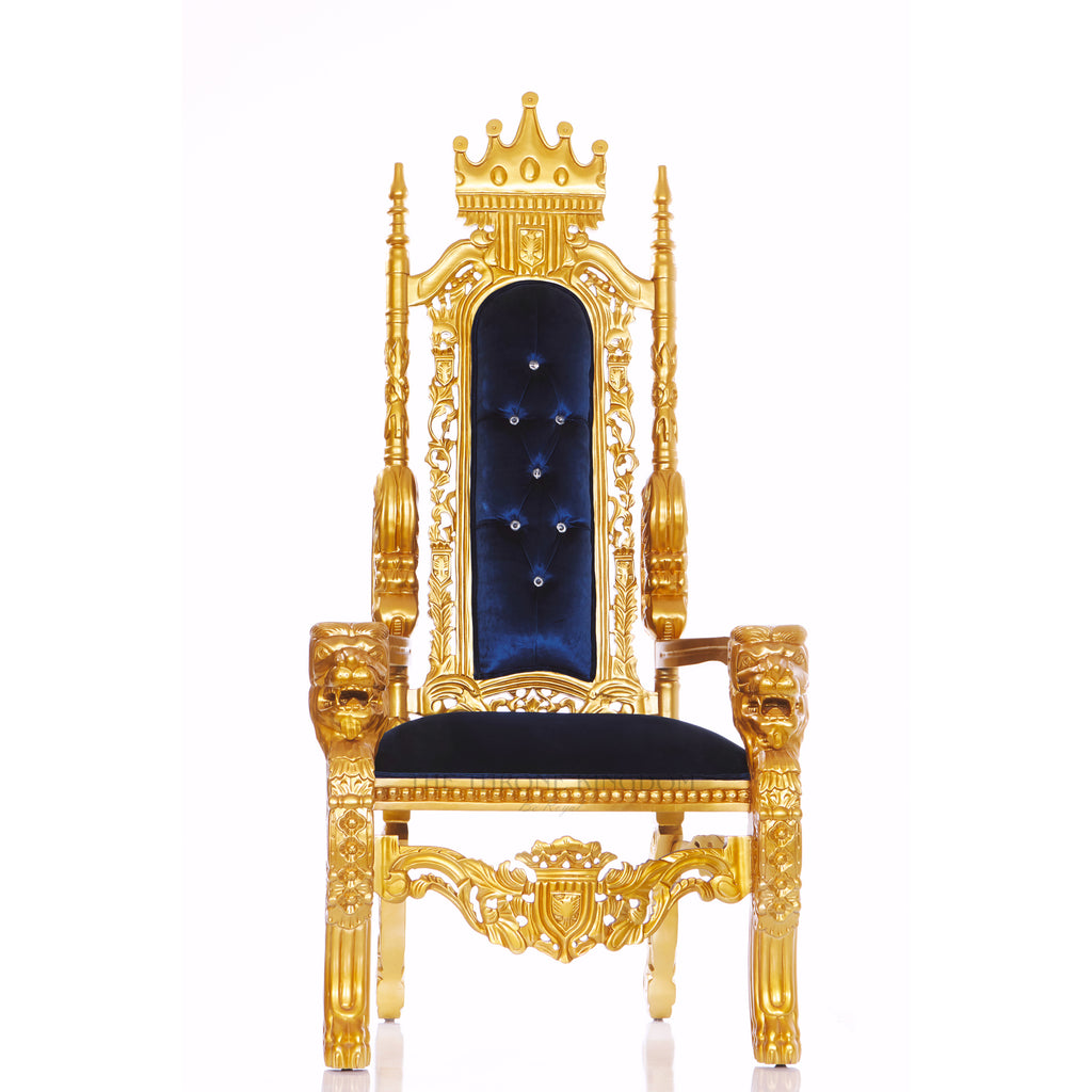 """King David"" King Crown Head Throne Chair - Blue / Gold"