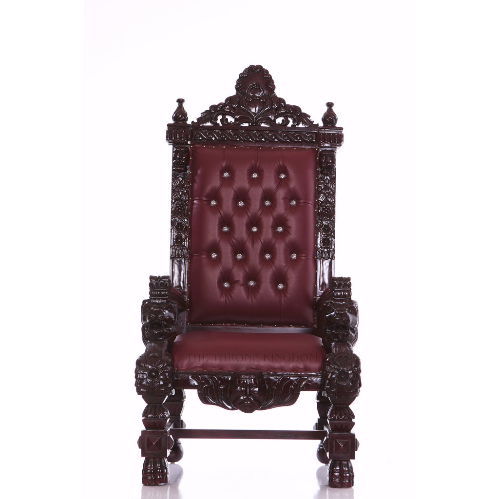 """King Samuel"" Lion Throne Chair - Burgundy / Mahogany Brown"