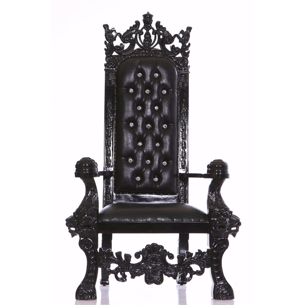 """King Solomon"" Gothic Throne Chair - Black / Black"