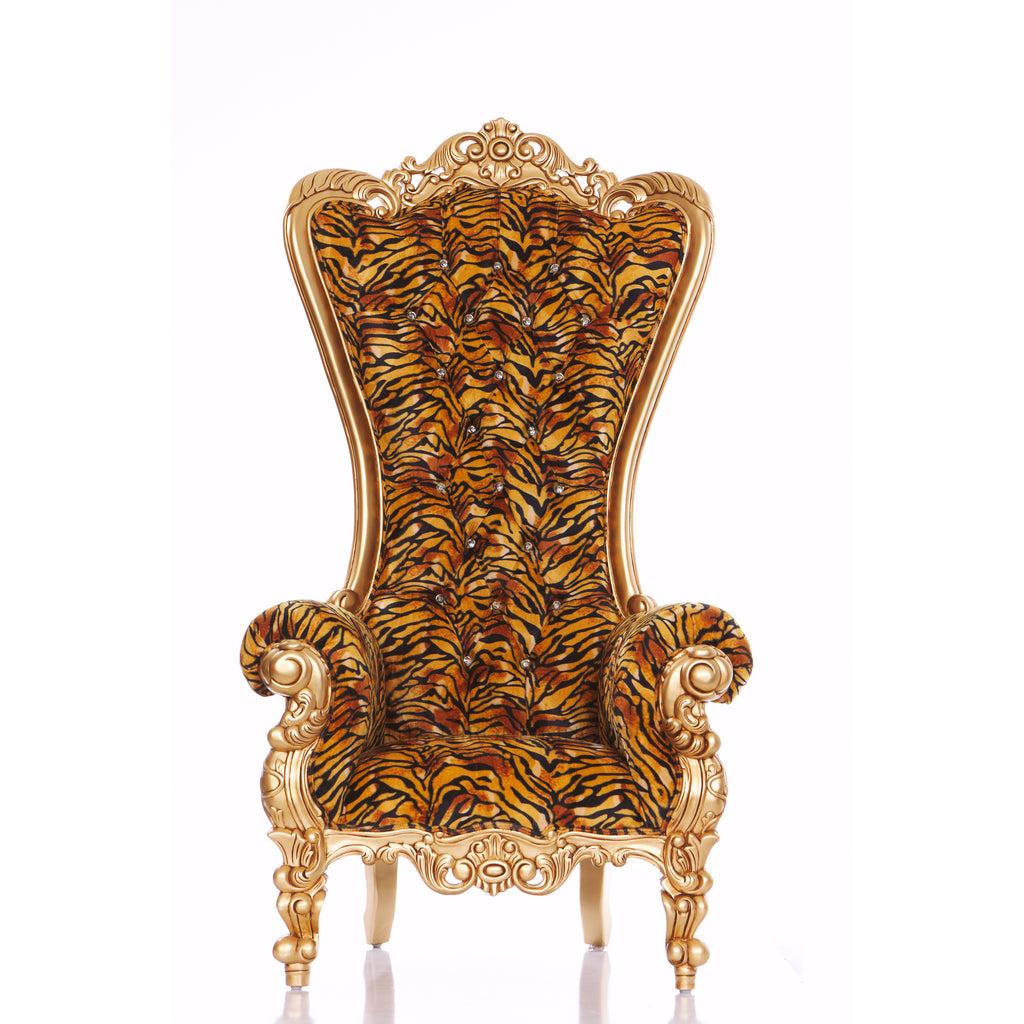 """Queen Tiffany"" Throne Chair - Tiger Print / Gold"
