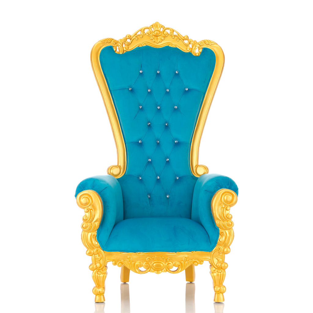 """Queen Tiffany"" Throne Chair - Baby Blue Velvet / Gold"