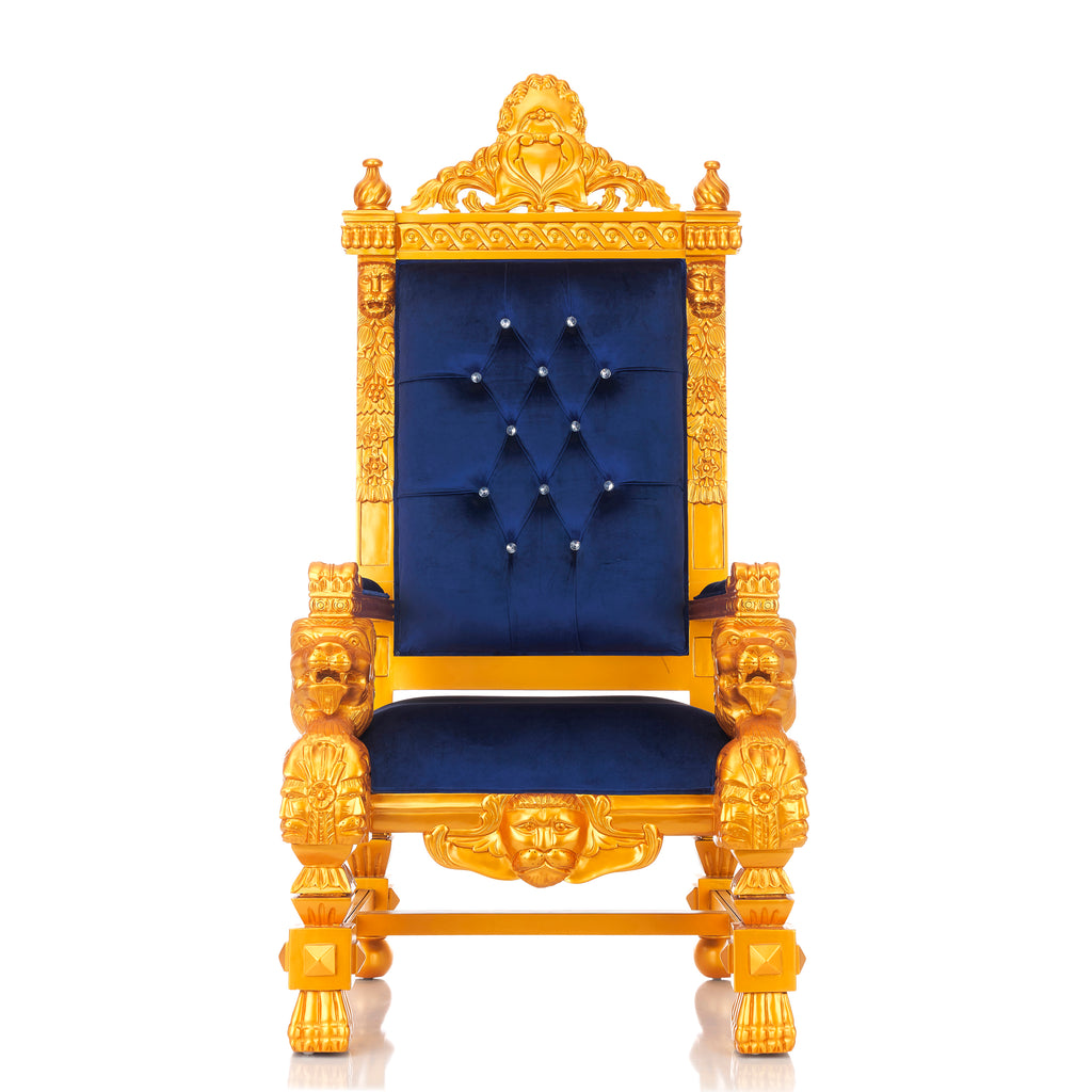 """King Samuel"" Lion Throne Chair - Blue / Gold"