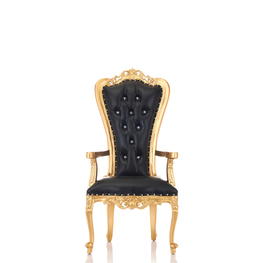 """Valentina"" Throne Chair - Black / Gold"
