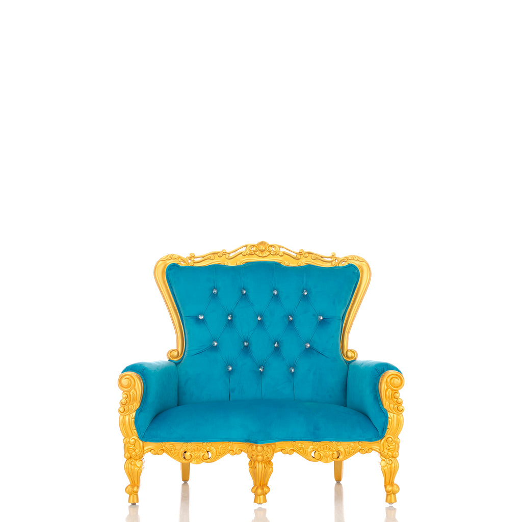 """Mini Tiffany"" Kids Love Seat Throne - Blue / Gold"