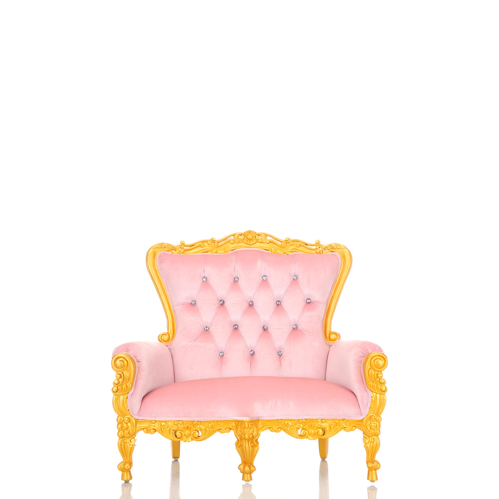 """Mini Tiffany"" Kids Love Seat Throne - Light Pink / Gold"