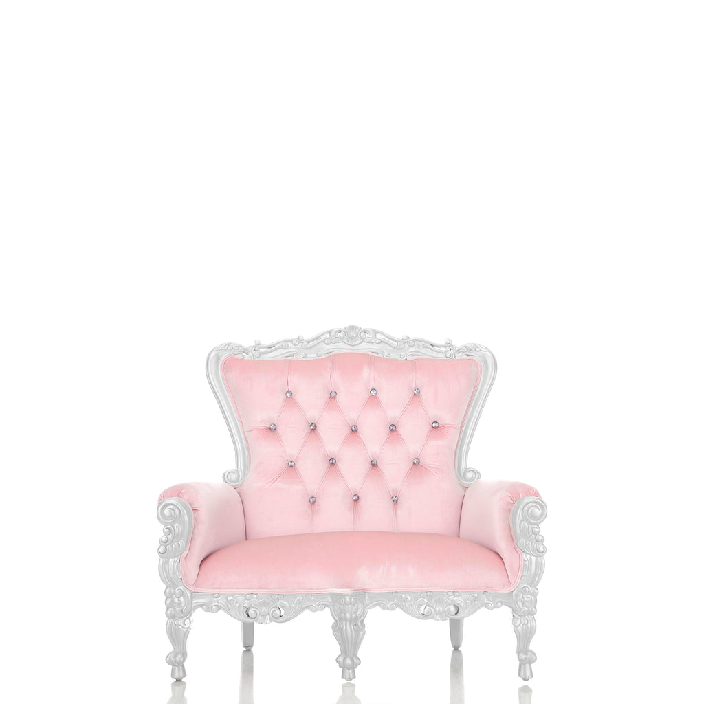 """Mini Tiffany"" Kids Love Seat Throne - Light Pink / Silver"