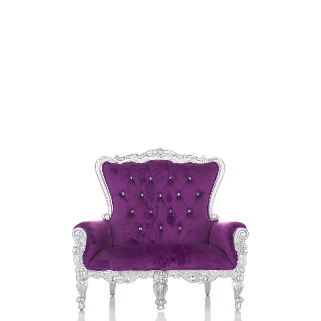 """Mini Tiffany"" Kids Love Seat Throne - Purple / Silver"