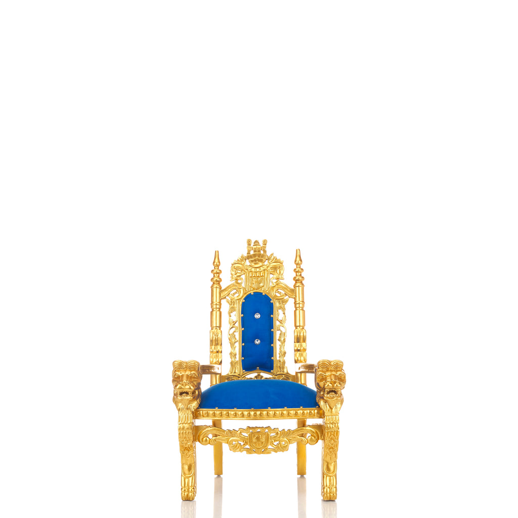 """Mini King David"" Lion Throne Chair - Blue / Gold"