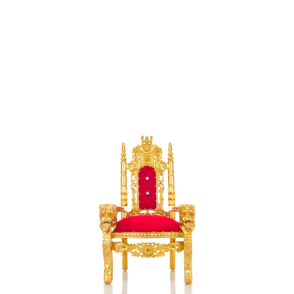 """Mini King David"" Lion Throne Chair - Red / Gold"