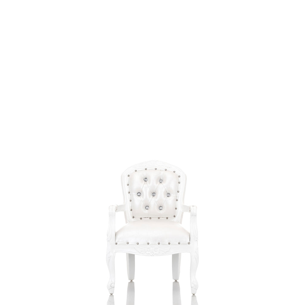 """Angelic"" 31"" Mini Children's Throne Chair - White / White"