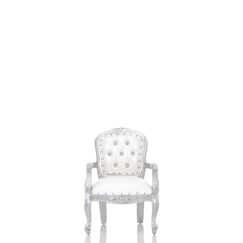 """Angelic"" 31"" Mini Children's Throne Chair - White / Silver"