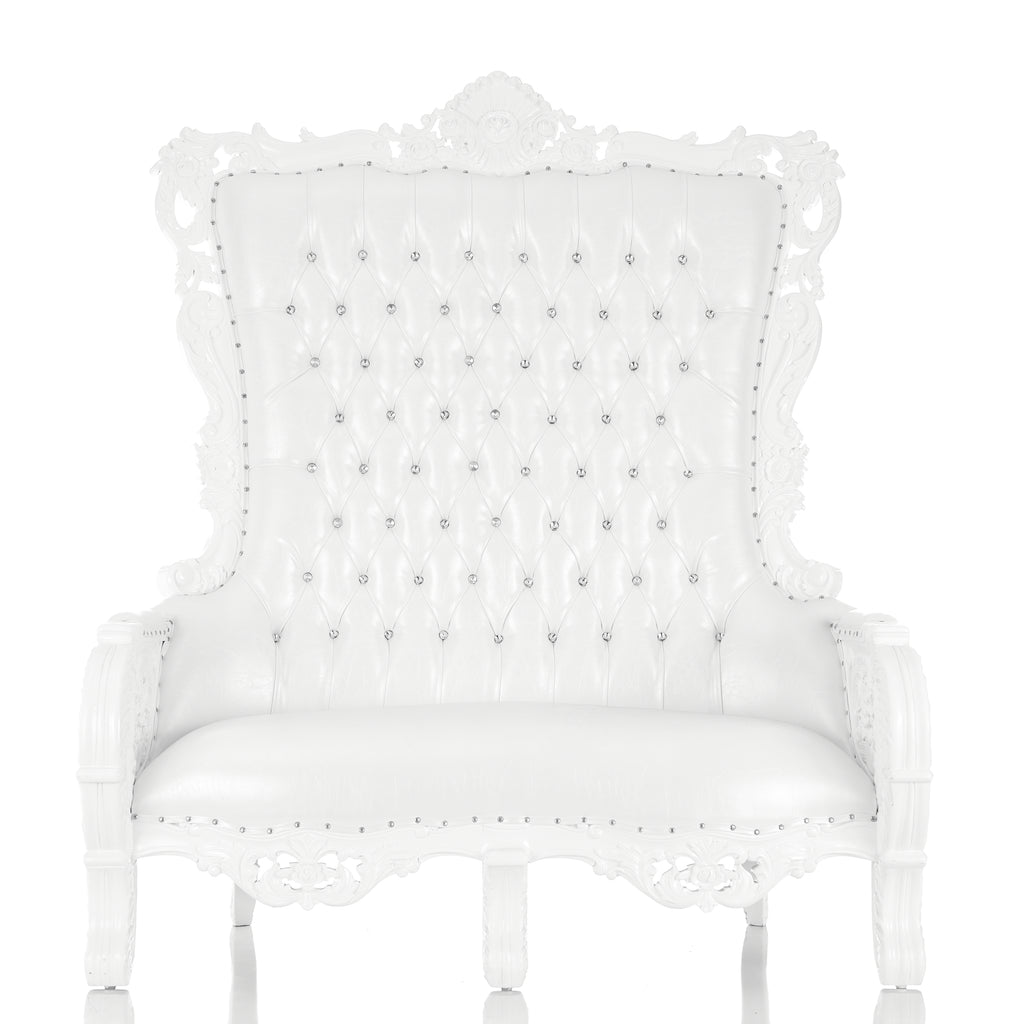 """Queen Latifah"" Love Seat Throne - White / White"